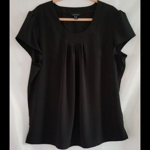 LANDS' END Black Pleated Pullover Shirt Top